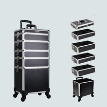 3 in 1 Professional Trolley Makeup Nail Case with removerable Tray Cosmetic Case with wheels and mirror Lighted makeup artist(China)