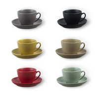 Simple European style High grade Ceramic Plate Cappuccino Flower Latte Coffee Tea Cup Set 300ml Xicara Copo Colorful Gift Tazas