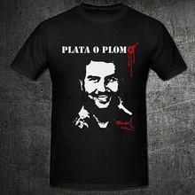 Envío libre Narcos Plata O Plomo negro camiseta hombres manga corta  Camiseta 3d camisetas algodón marca 4d4c267c746