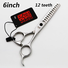 6 INCH KASHO Professional hair scissors Thinning scissors12 Teeth Simple packing 1PCS/LOT NEW