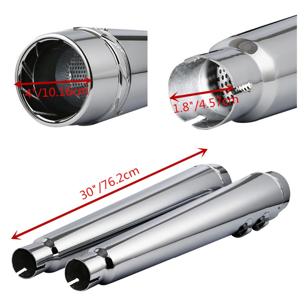 4 39 39 Megaphone Slip on Silencers Exhaust Pipes Fit For Harley Road King Electra Street Glide 1995 2016 Chrome Black in Exhaust amp Exhaust Systems from Automobiles amp Motorcycles