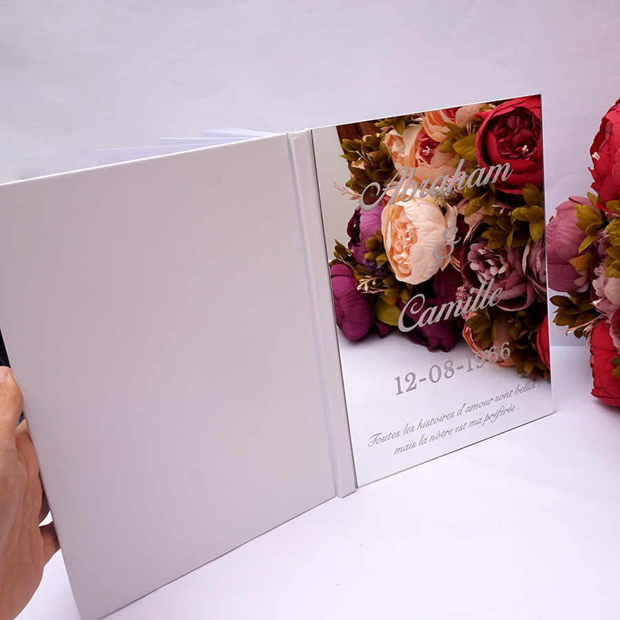 Custom Wedding Signature Guest Book Personalized Mirror Cover Empty White Blank Pages Check in Book Bridal Favor Gift Pary Decor