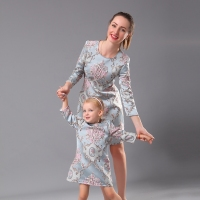 Winter Women 4XL Girl 1Y 16Y Palace Embroidery Party Dress Family Look Clothes Mom Baby Girls