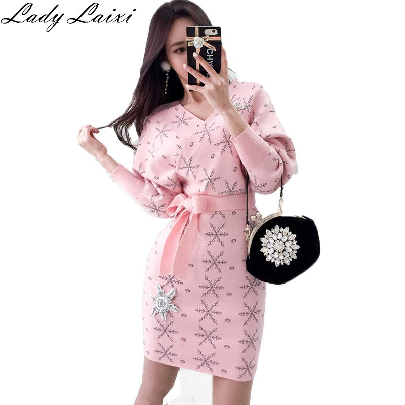 Women Wool Sweater Dress Sexy Double V neck Batwing Sleeve Snowflake Print Diamond Knitted Dress Pink Black Christmas Dress