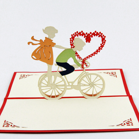 Love bicycle heart pop up card / handmade 3d love card   Free shipping music card spiral pop up musical notes 3d card music instruments pop up card bday pop up card