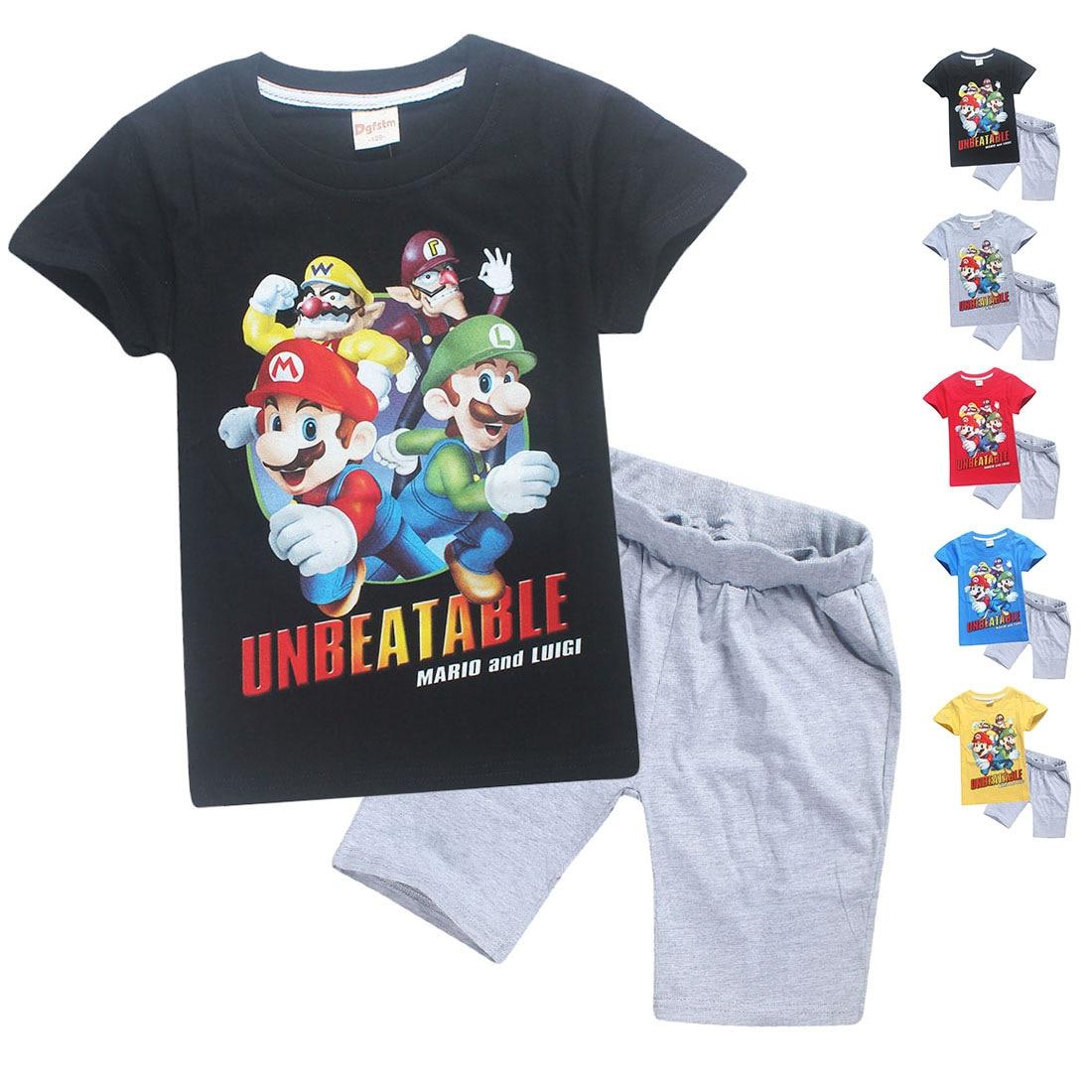 2018 новый летний Обувь для девочек мальчиков футболка S Супер Марио детские дети Футболки одежда хлопковая футболка с короткими рукавами для...