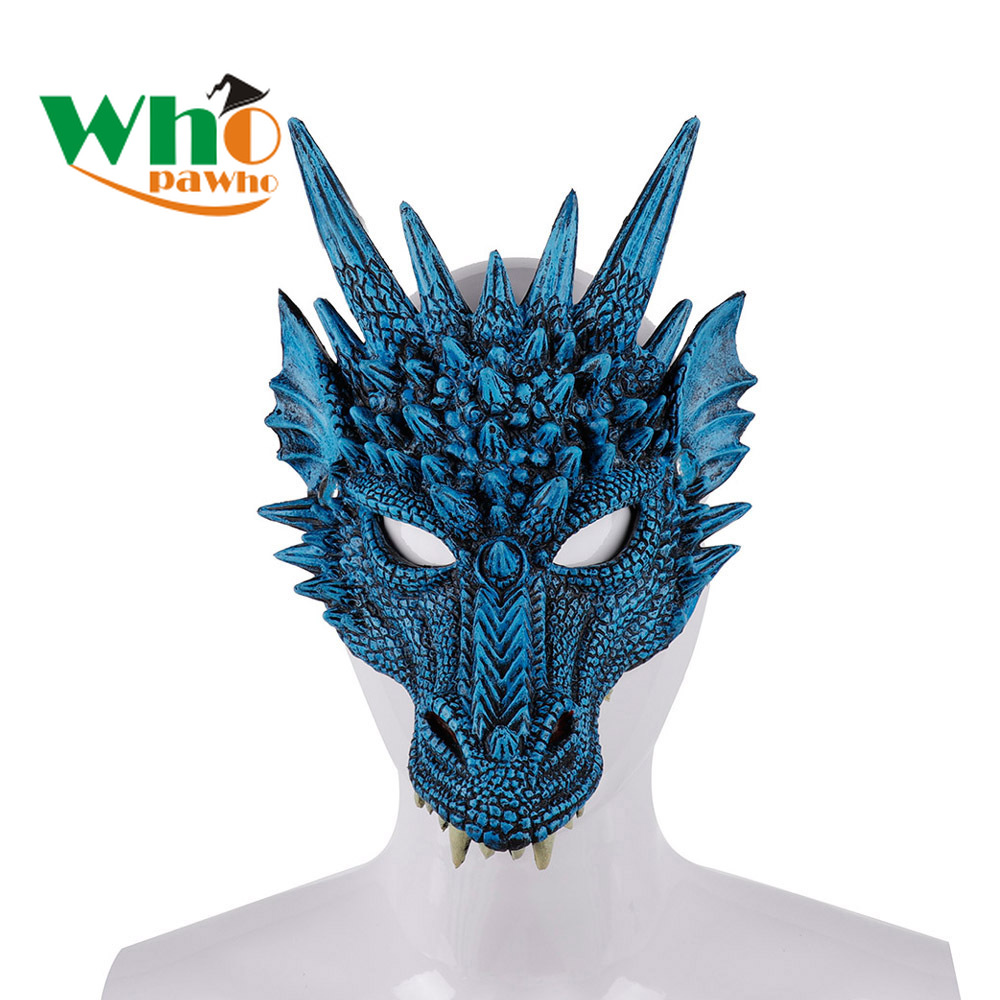 Boys Girls Mardi Gras Masquerade Face Mask Halloween Carnival Party Flexible PU Form 3D Animal Dragon Mask for Adult