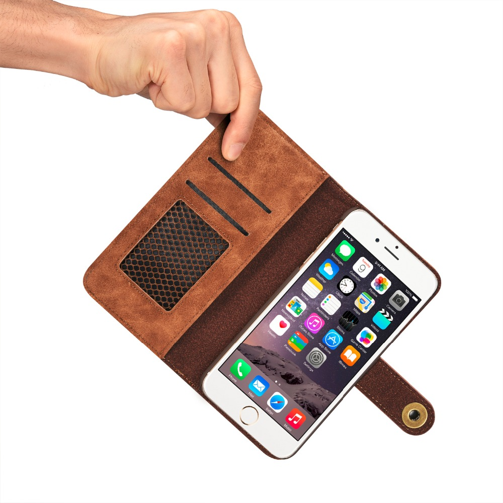 MaxGear Two in One Luxury Leather Magnetic Wallet Flip phone case for iPhone 6 6S 4.7inch iPhone 6S Plus 5.5 With Card Holder