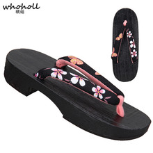 WHOHOLL Original Japanese Kimono Clogs Summer Sandals Women Wooden Geta Flip Flops Paulownia Shoes Cosplay Costumes