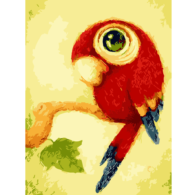 Frameless Animal Cute Parrot DIY Painting By Numbers Kits Coloring ...