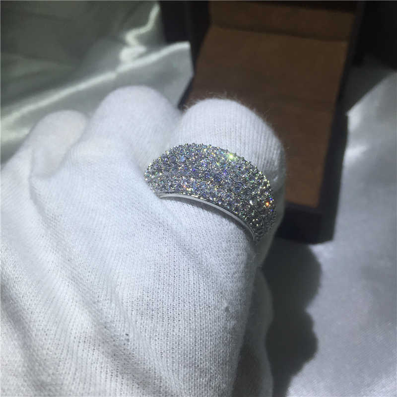 Round Big ring Engagement Wedding Band Rings for women men Full 320pcs AAAAA zircon cz White Gold Filled Female Finger Jewelry