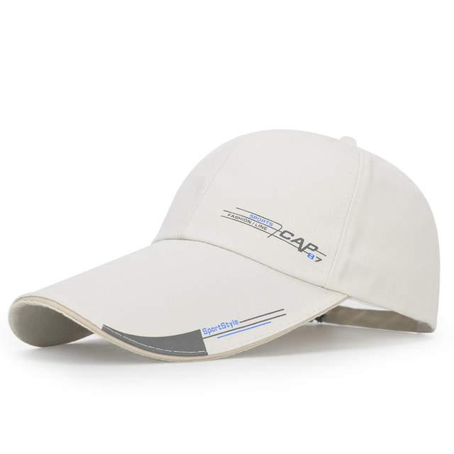07e64cfef5 US $4.79 40% OFF|High Quality Long Brim Shade Snapback Sports Cap Mens Hat  For Fish Outdoor Fashion Line Baseball Cap Sun Dad Hat Bone Gorras-in Men's  ...