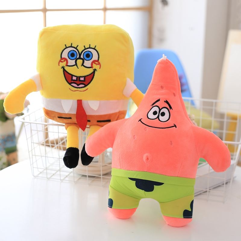 1pcs 30cm Cartoon Sponge baby bob Plush toySend big stars Plush doll toys Soft  Pillow K ...