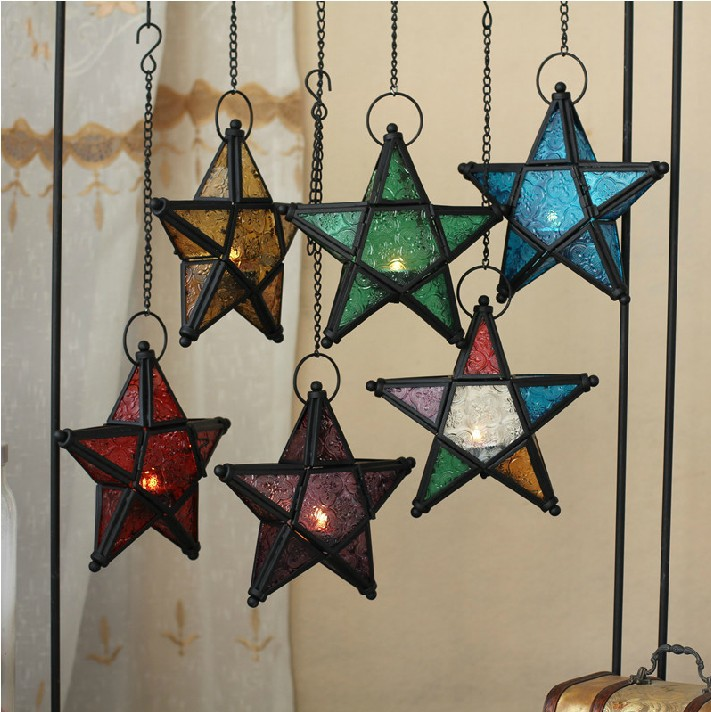 Aliexpress Com Buy Christmas Lighting Home Decor Candle Holder Morocco Iron Retro Five Pointed Star Hanging