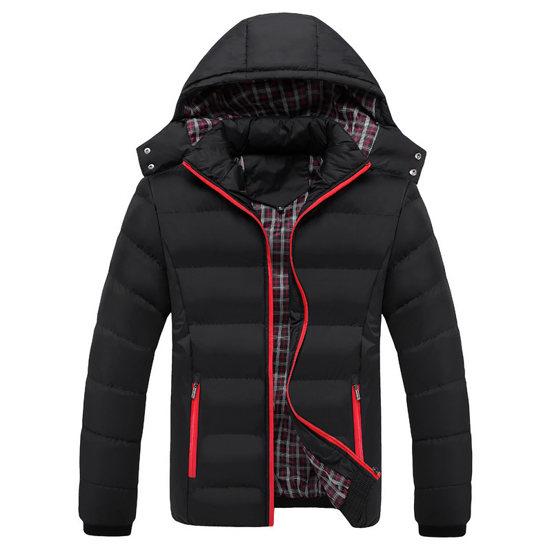Fall And Winter Of 2019 Men Removable Hooded Pure Color Down Cotton-padded Jacket Leisure Joker Cotton-padded Clothes