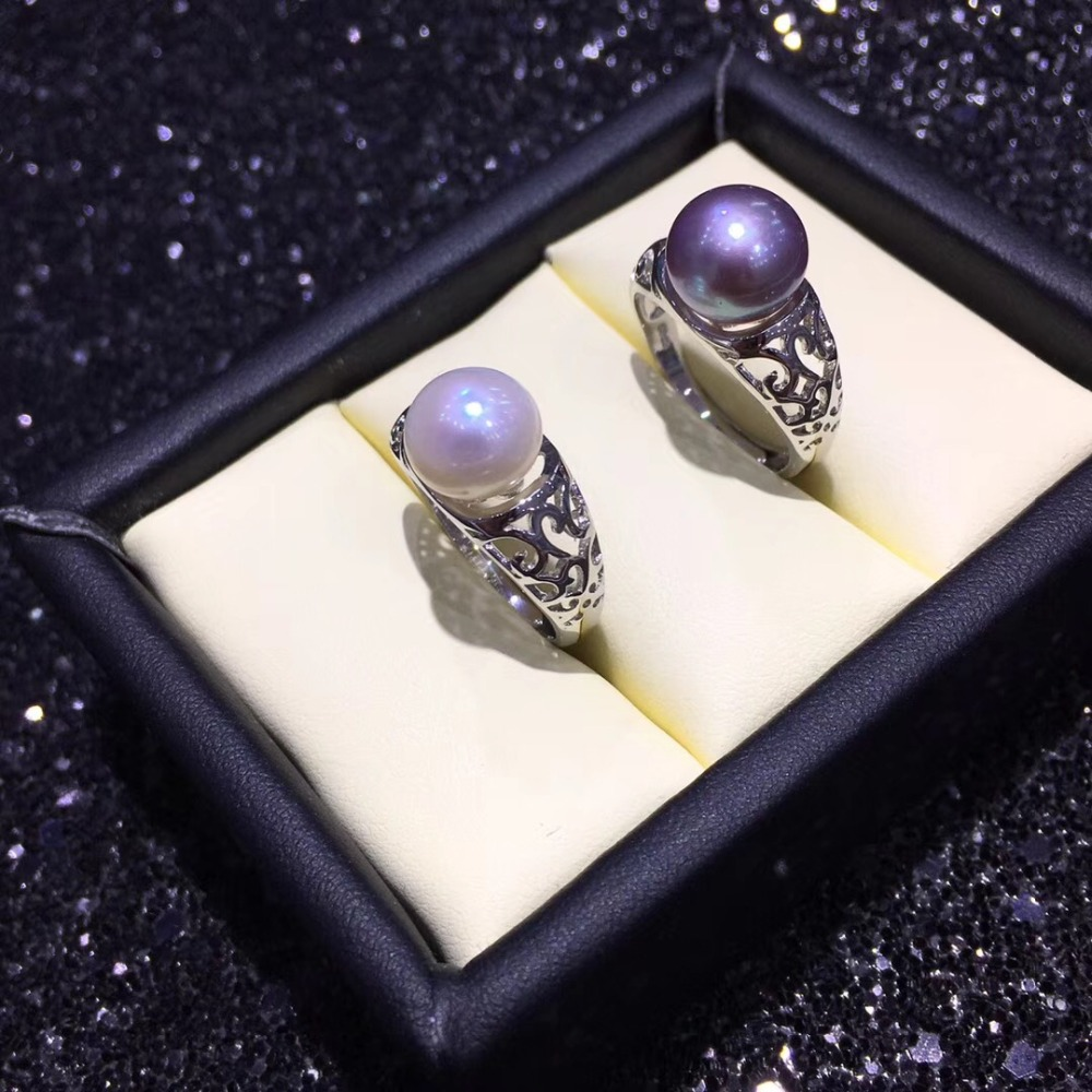 YIKALAISI 925 Sterling Silver Jewelry Pearl Ring Jewelry For Women Fashion 100% Natural 9-10 Mm Freshwater Pearl Wholesale