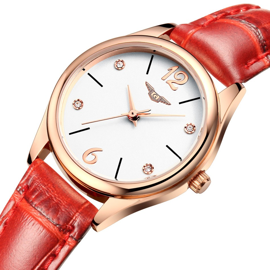 ФОТО montre femme Watches Women Fashion brand GUANQIN Luxury Design Dial Quartz Watch Ladies Red Leather Wristwatch relogio feminino