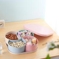 Wheat Straws Dried Fruit Tray Lattice Gloves Snacks Candy Creative Box Living Room Kitchen Fruit Plate Box Storage Candy box A20