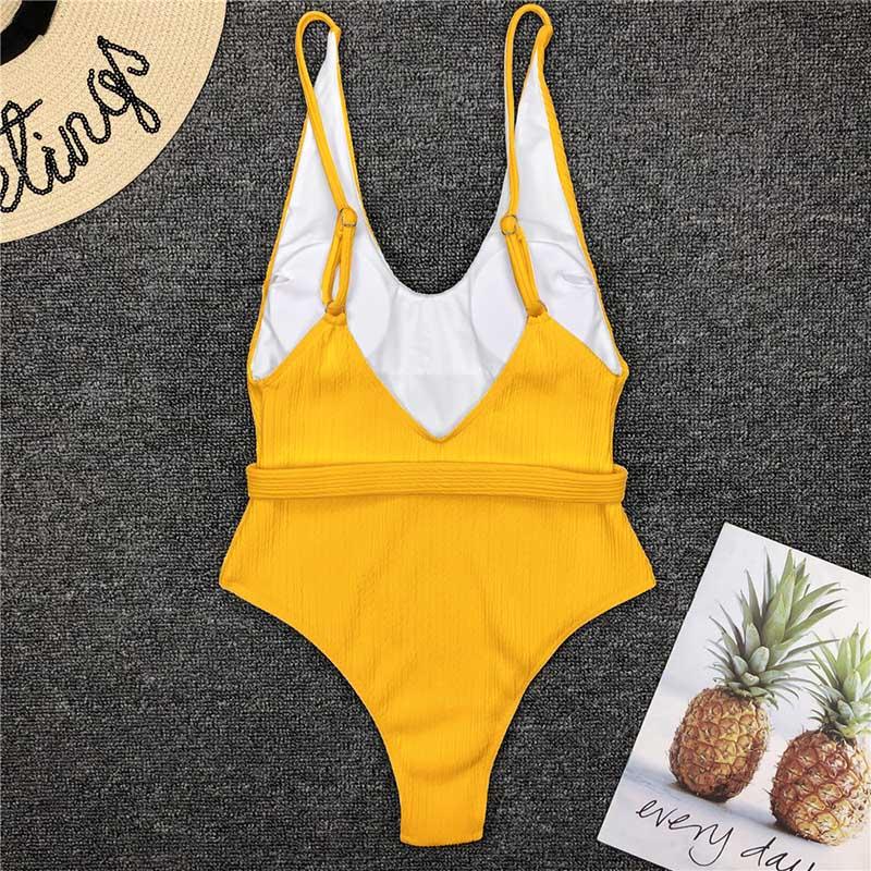 Одноцветный купальный костюм с бретельками, модель 2020 года, сексуальный купальник для женщин, с поясом, с высокой посадкой, пляжная одежда, u-... 40