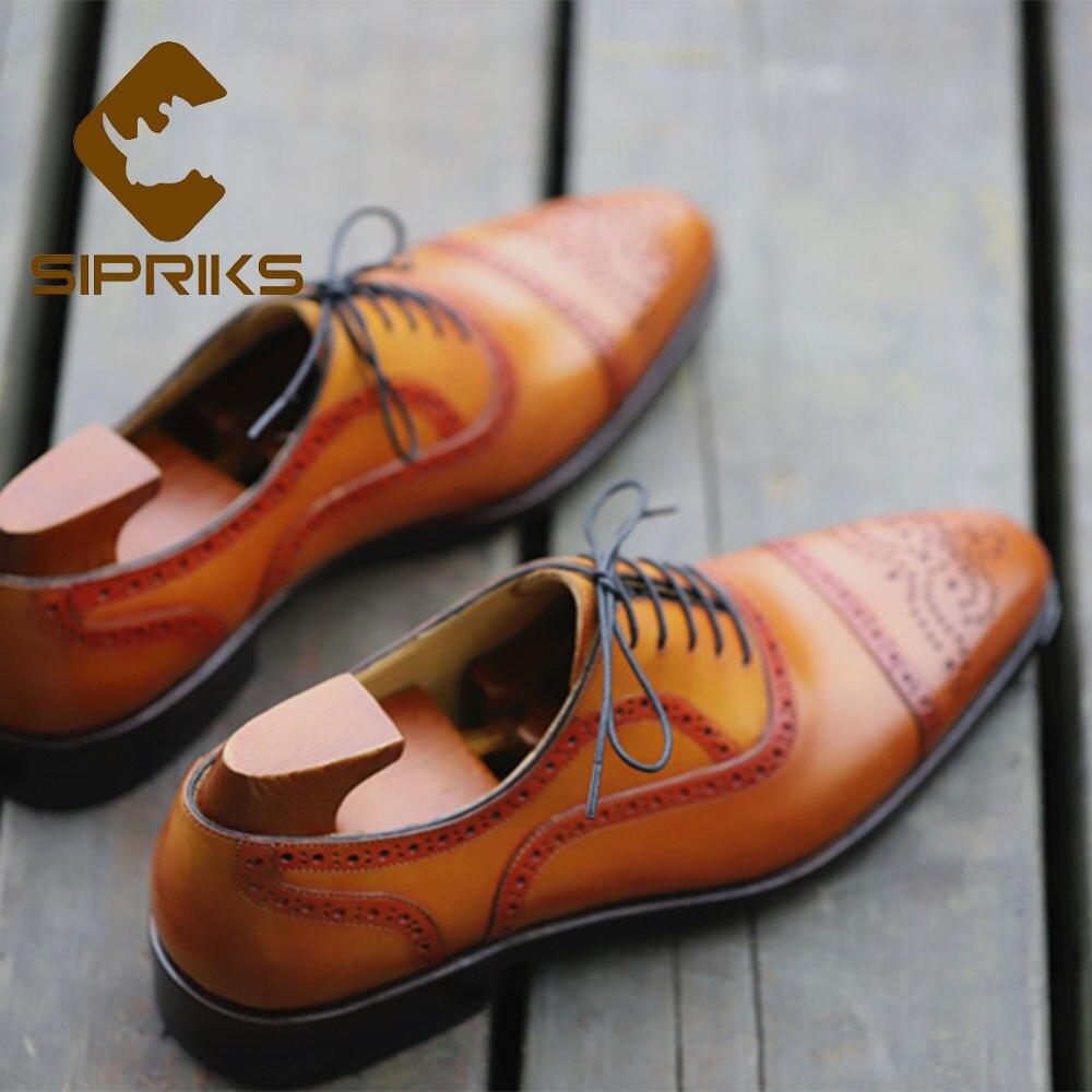 Sipriks อิตาเลี่ยน Handmade Mens Goodyear Welted รองเท้าหนังแท้นำเข้าสีเหลือง Patina สีน้ำตาล Retro Brogue รองเท้าธุรกิจใหม่-ใน รองเท้าทางการ จาก รองเท้า บน   3
