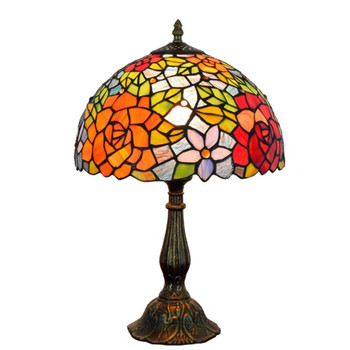 Colorful Flower Table Lamp Stained Glass European Baroque Vintage for Living Room bedroom E27 110-240V