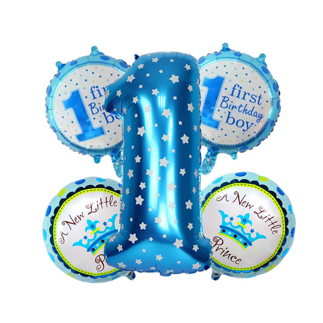 Blue Pink Foil Balloons Balls 1st Birthday Balloon Boy Girl Colorful Happy Emoji Party Decorations