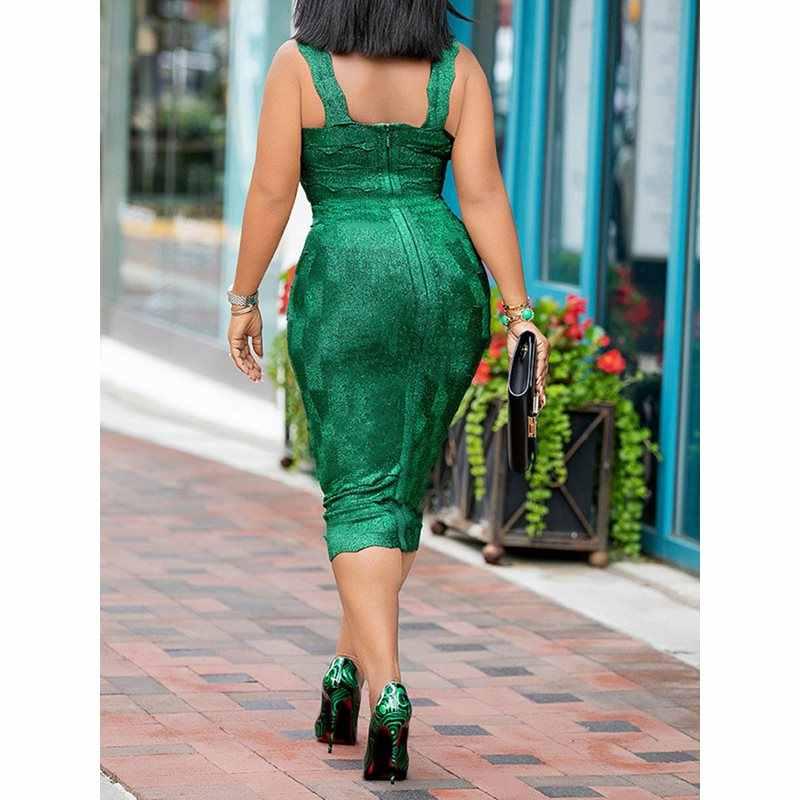 Летнее сексуальное зеленое повседневное Клубное женское платье миди в африканском стиле большого размера, облегающее платье с квадратным вырезом, простое женское модное шикарное платье 2019