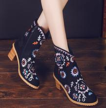 2016 Spring new thick with Female boots national style Martin boots Embroidered cloth shoes black high heel boot bota feminina