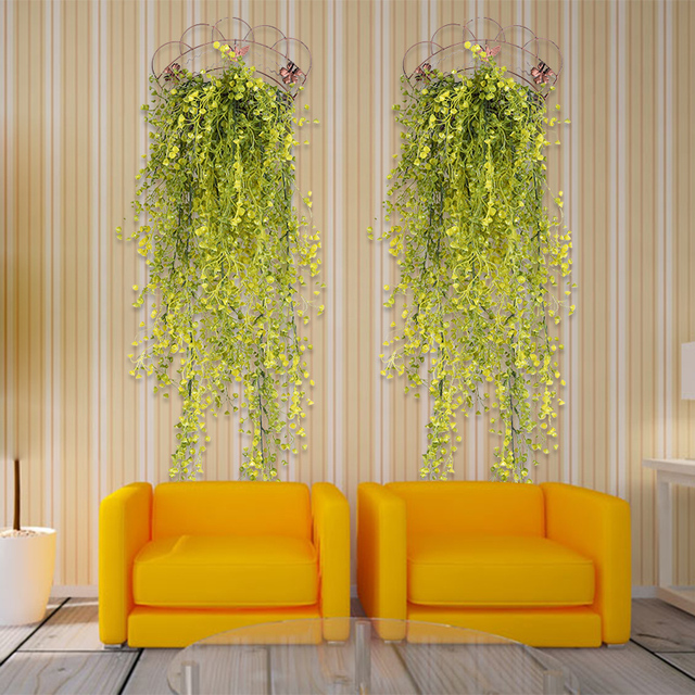 Green Artificial Fake Hanging Plastic flowerVine Plant Leaves ...