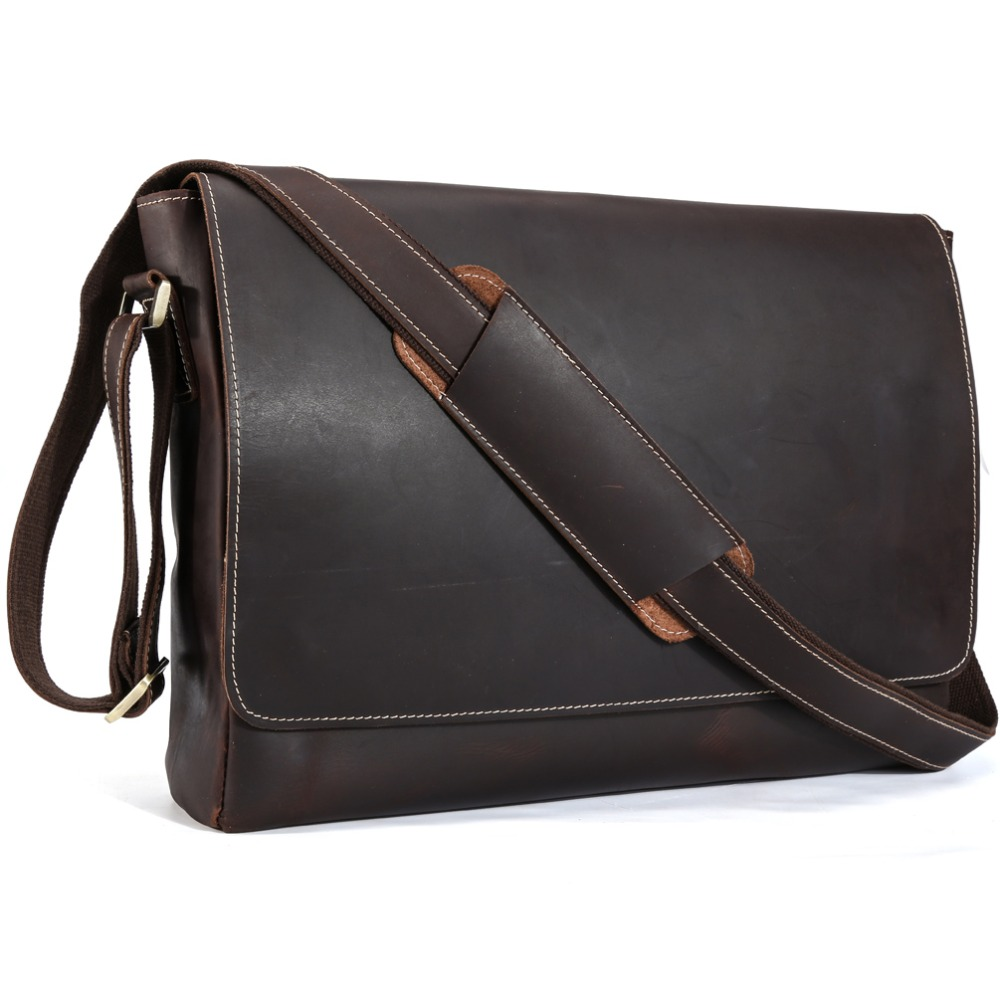 TIDING Genuine Leather 15 inch Laptop Messenger Bag Men Simple Vintage Style Cross body Shoulder Briefcase Large Satchel 11532