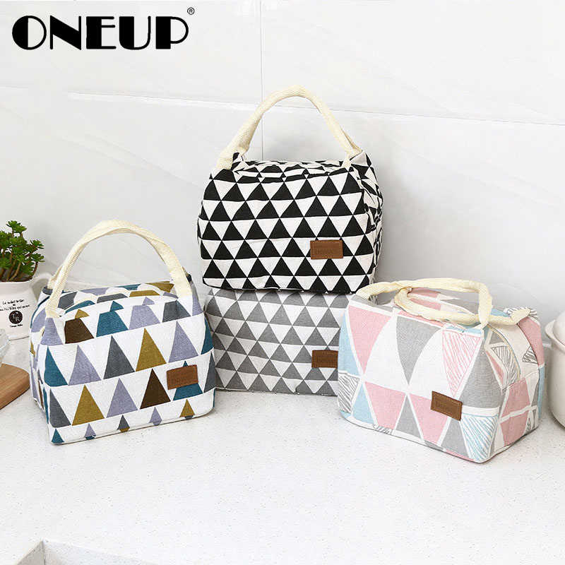 ONEUP Lunch Bag Canvas Insulated Waterproof Box Bento Pouch Lunch Container Food Storage Bag Folding Tote For Picnic Travel