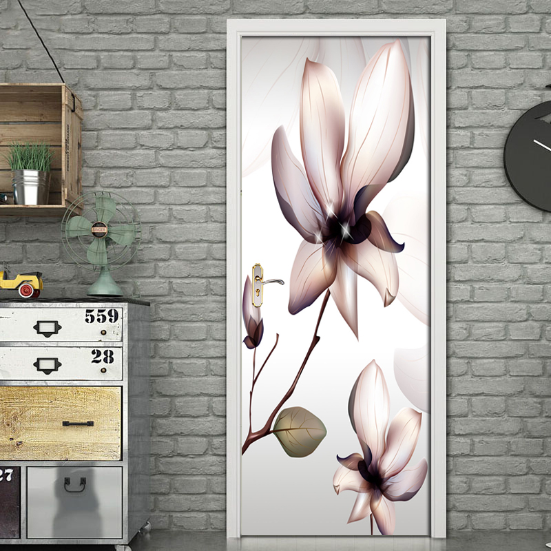 Modern Flowers Door Sticker PVC Self-adhesive Wallpaper Poster For Living Room Bedroom Door Home Decoration Mural Wall Stickers