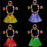 Women Kid Hawaiian Grass Straw Skirt Flower Hula Lei Wreath Garland Costume 30cm 40cm 60cm Birthday