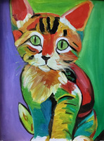 Oil Painting Colorful Cat 100 Pure Hand Painted Abstract Oil Paintings Decoration Specials Cicada Oil Painting