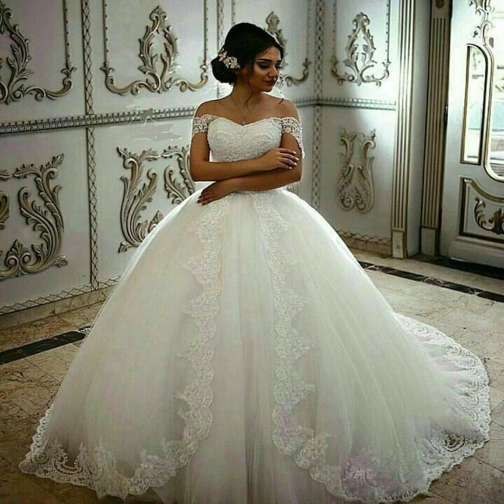 Romantic Ball Gown Wedding Dress 2018 Elegant Lace Bridal Gown Sexy Sweetheart Off Shoulder Lace Applique White Bride Dress-in Wedding Dresses from Weddings & Events    1