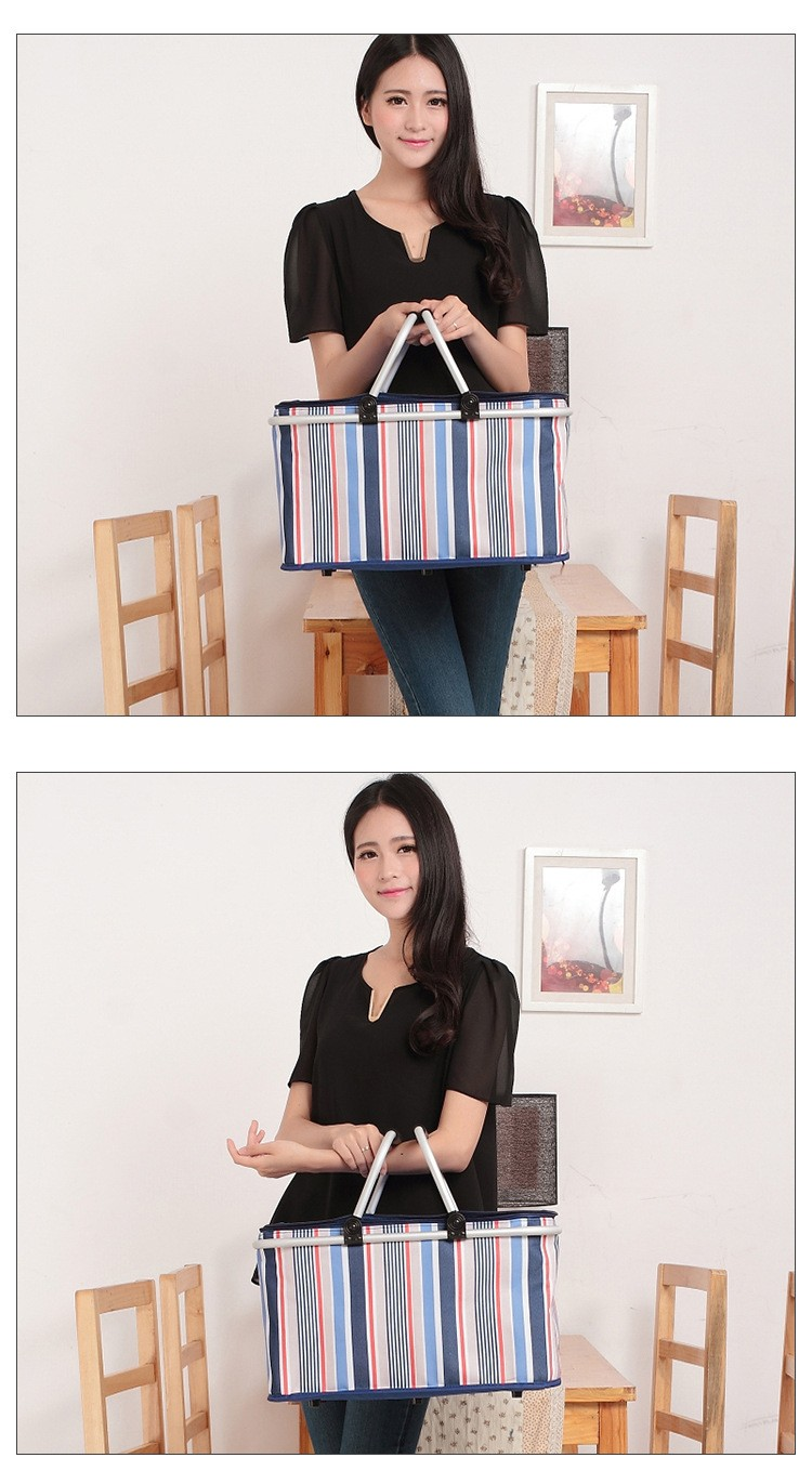 Aluminum Alloy Foldable Cooler Bag Basket Thermal Food Box Cans Fruit Storage Picnic Lunch Insulation Tote Cool Bag Package (9)