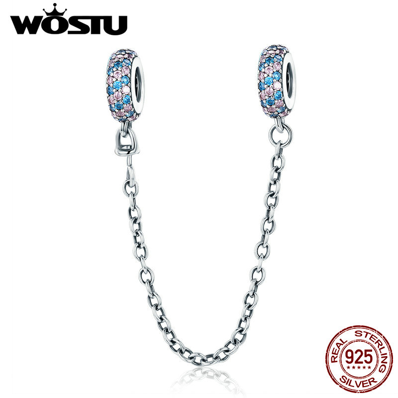 Prawdziwe 925 sterling Silver Pave Inspiration Safety Chain Charm z Wyczyść CZ Fit Original Bracelet Authentic Jewelry Gift