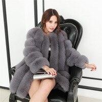 冬暖かい皮膚全体フォックス毛皮のコートナチュラルリアルフル毛皮女性新しい本物の高級ノーブル80センチ長いouterwearsジャケットBF-C0059
