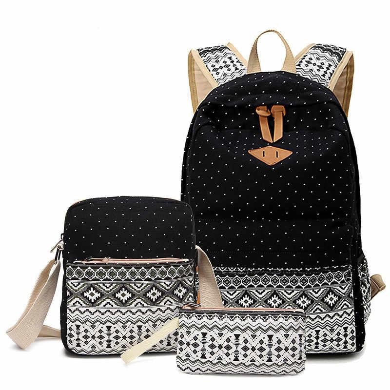 1506fe1999ec Подробнее Обратная связь Вопросы о Точка печати холст рюкзак Для женщин  школы назад сумки для девочек подростков милые черные набор туристические  рюкзаки ...