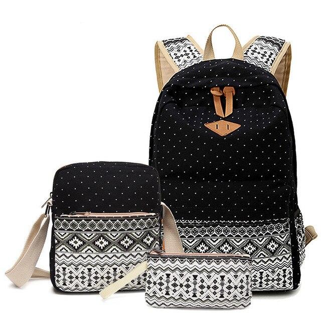 Dot Canvas Printing Backpack Women School Back Bags for Teenage Girls Cute  Black Set Travel Backpacks Female Bagpack Rucksack 48b67c47ff5b7