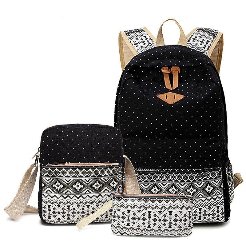 Punto de lona impresión mochila escuela bolsas para adolescentes chicas lindo conjunto Negro Mochila de viaje para mujer mochila
