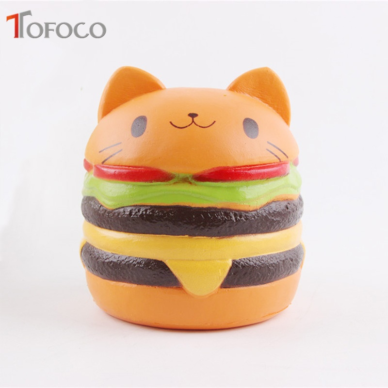 TOFOCO Food Squishy Jumbo Cat Hamburgers Cream Scented Slow Rising Squishies Kawaii Charm Kid Anti Stress Relief Decoration Toy