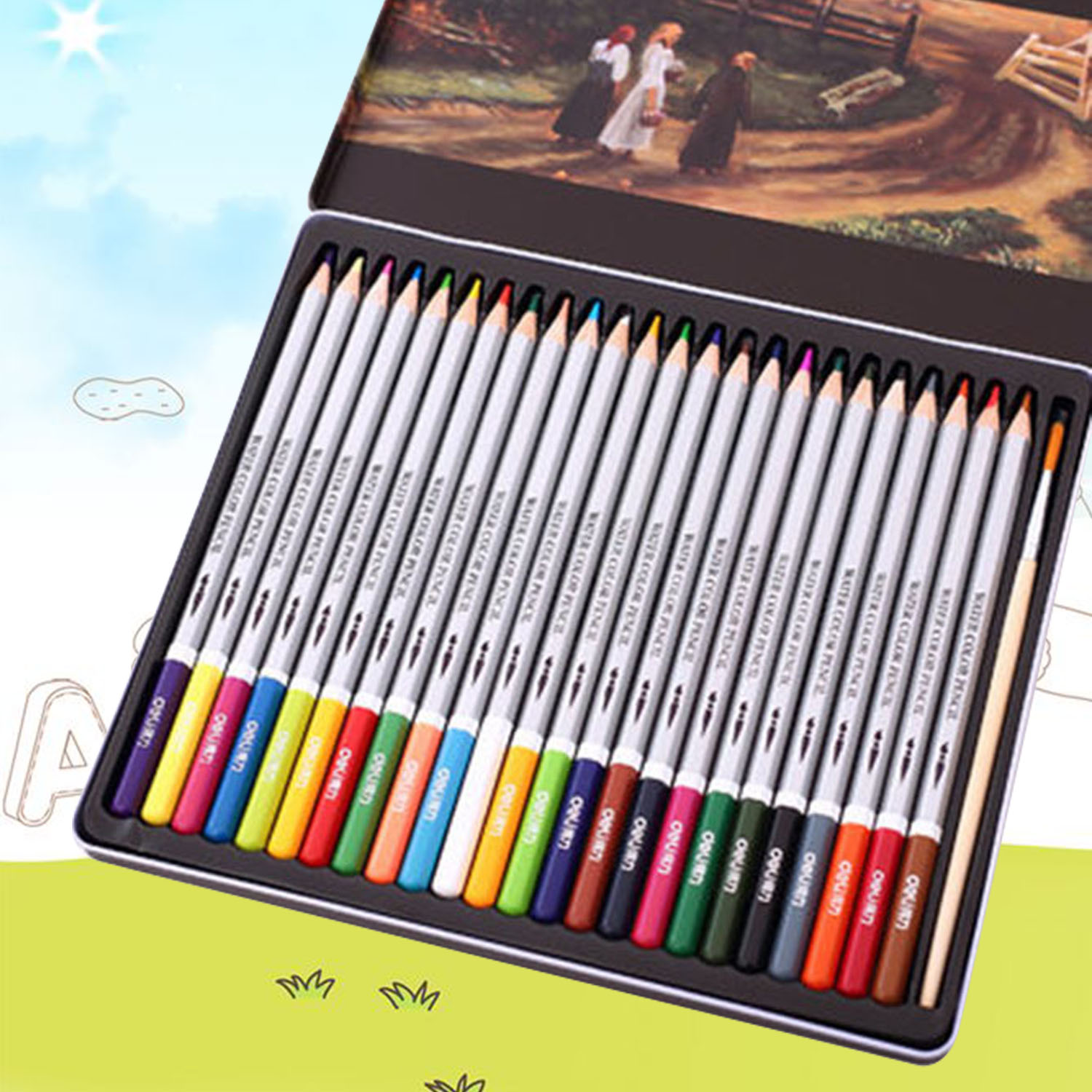 24 Colors Water Soluble Colored Pencil Watercolor Pencils Set For Adults Kids Drawing Painting Sketching