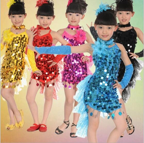 Free Shipping Hot sale Cocktail Sequin Dance Costumes Samba Fitness Dress Latina Child Kids Girls Latin Dress