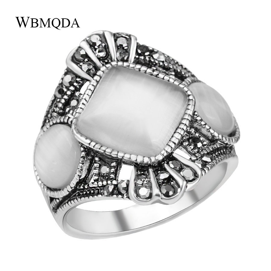 Wholesale Vintage Ethnic Tibetan Antique Silver Color Ring Retro Opal Stone Rings For Women Bohemian Statement Party Jewelry