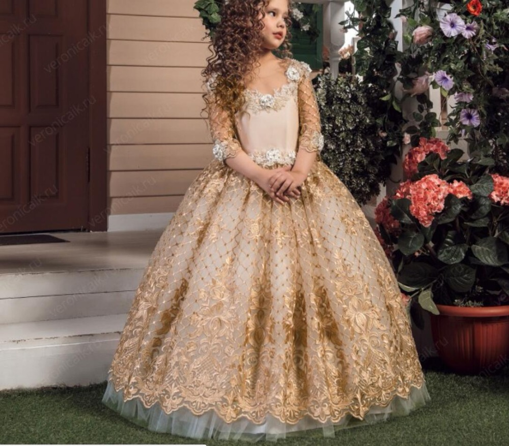 Arabic Champagne Flower Girls Dresses For Weddings Long Sleeves Lace Appliques Ball Gown Birthday Girl Communion Pageant Gown цена