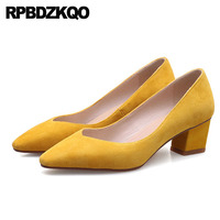genuine leather customized thick high quality pointed toe suede size 4 34 court 2018 ladies yellow shoes medium heels office