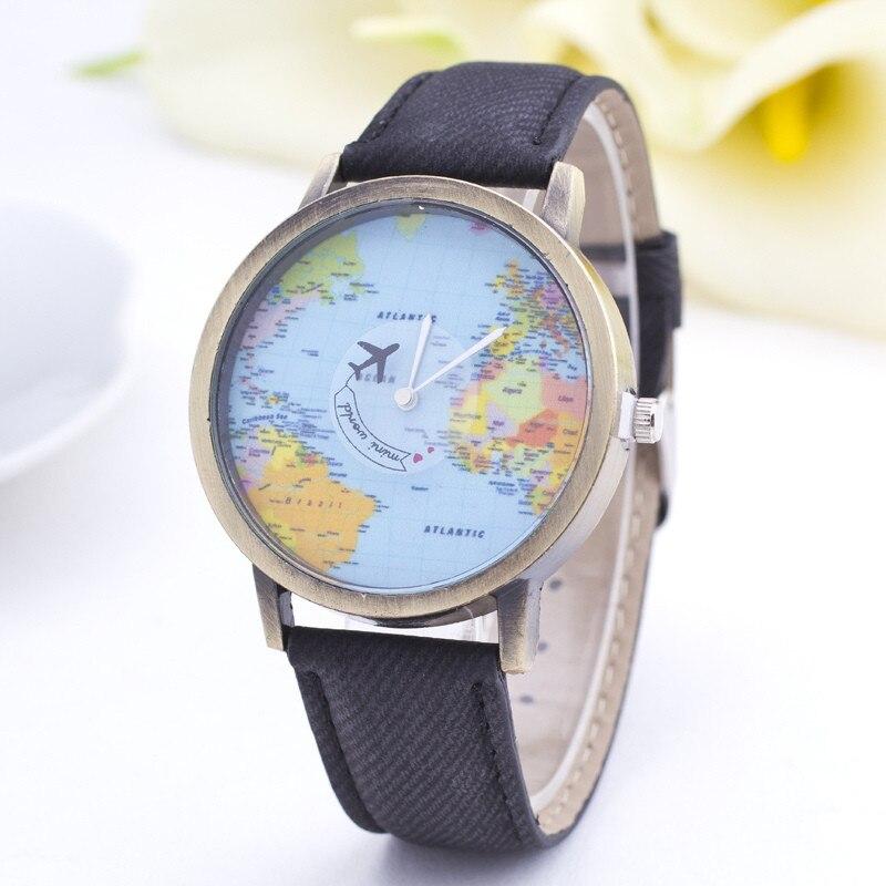 Fashion Global World Map Plane Denim Fabric Band Watch Casual Women Wristwatches Quartz Watch Relogio Feminino Relojes Mujer