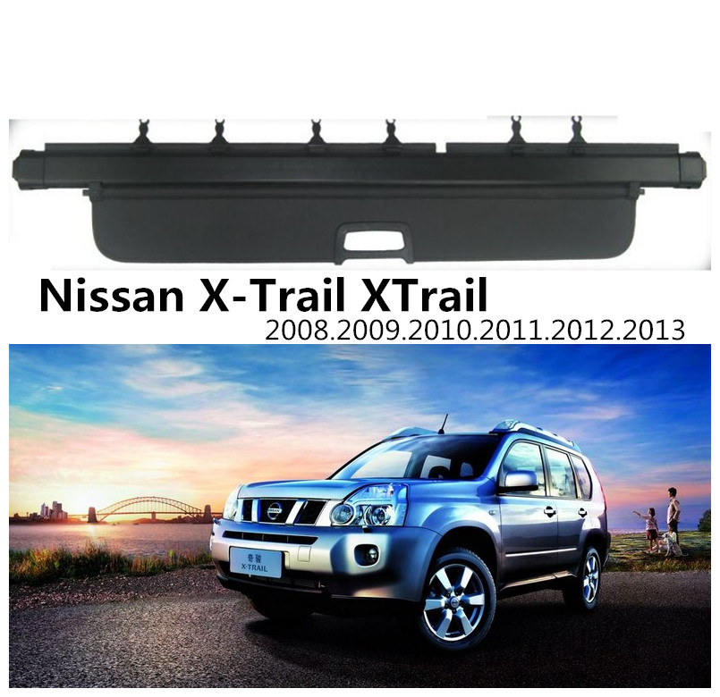 For Nissan X-Trail XTrail Rogue 2008-2013 Rear Trunk Security Shield Cargo Cover High Quality Car Trunk Shade Security Cover for nissan x trail 2008 2009 2010 2011 2012 2013 retractable rear cargo cover trunk shade security cover black auto accesaries