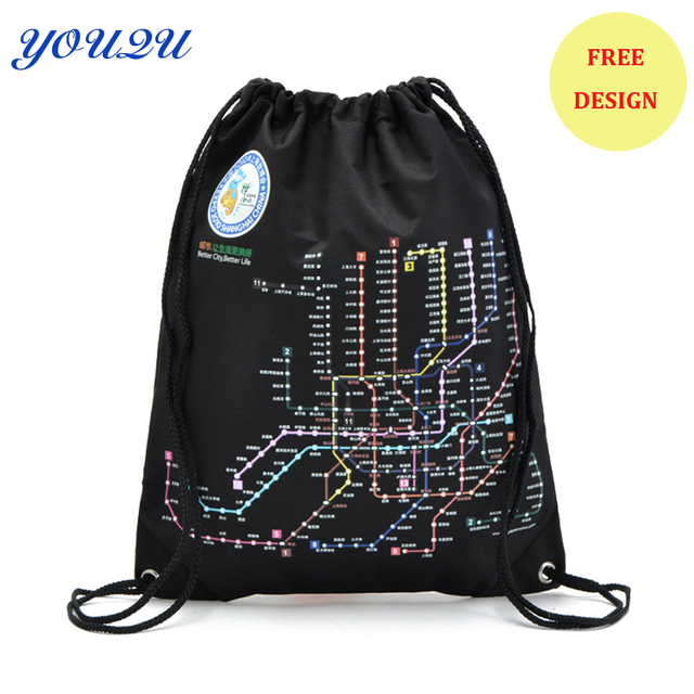 Custom Polyester Drawstring Bag Whole Backpack Promotional Free Design